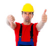 worker with thumb up and down