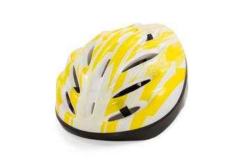 Yellow bicycle helmet