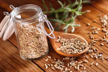 semi di finocchio nel cucchiaio di legno