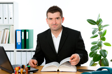 businessman is reading