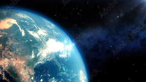 Leinwanddruck Bild Realistic Earth closeup render