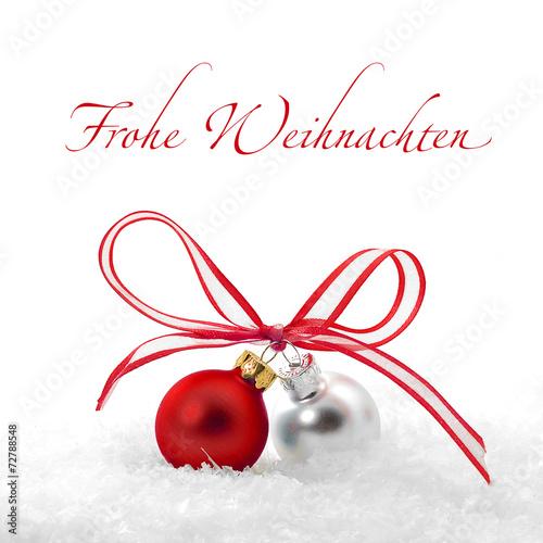 Leinwandbild Motiv Kleine Weihnachtskugeln mit Schleife
