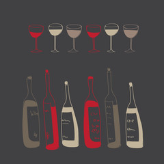 vector wine bottles and glasses