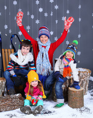 Winter Fashion. Adorable happy kids.