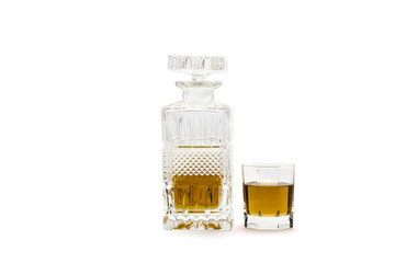 Decanter with whisky and glass