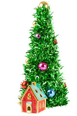 Synthetic Christmas tree with colored balls on branches