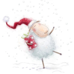 Christmas sheep with the gift in Santa hat on snow background