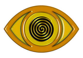 Eye icon with spiral effect in gold, yellow and black