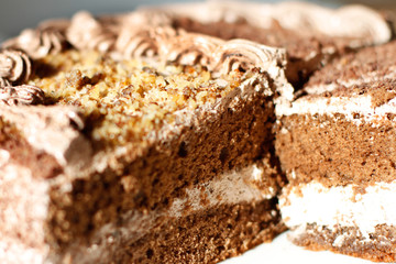 Cake with cream  cross-sectional close-up