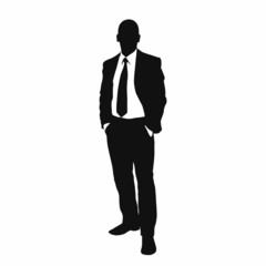 vector business man black silhouette