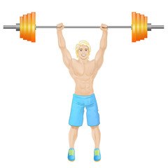 Sport man hold barbell bodybuilder athletic muscle