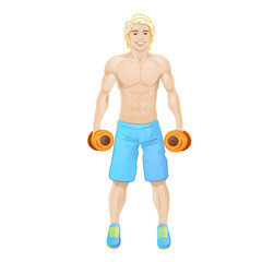 Sport man hold dumbbells bodybuilder athletic muscle