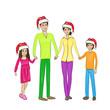 christmas holiday happy family wear red new year santa hat cap