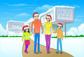 christmas holiday happy family in front of modern house winter