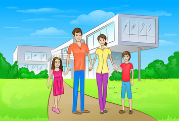 Family standing in front of new big modern house