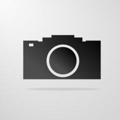 photo camera icon gray vector illustration