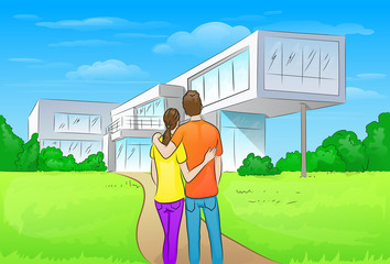 couple embracing in front of new big modern house