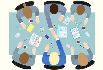 Business people handshake top angle view