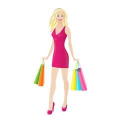 shopping woman happy smiling holding colorful bags