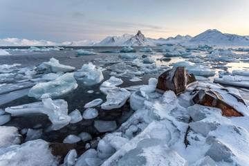 Unusual Arctic landscape - Spitsbergen - freezing fjord