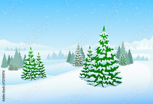 winter forest landscape christmas background, pine snow trees - 72789976