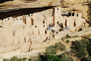 A ranger-guided tour in Cliff Palace, Mesa Verde NP, CO, USA