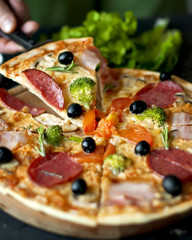 Pizza Slice with salami, broccoli, tomato, olives
