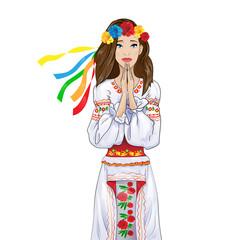 woman pray clasp hands ukrainian national clothes