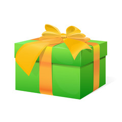 gift box present with yellow ribbon bow