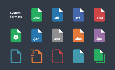 Set of System File Formats icons.
