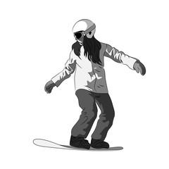 Snowboarder sliding down, female snowboarding