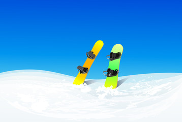 two snowboard in snow mountain slope vector