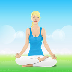 woman sitting in yoga lotus position closed eyes