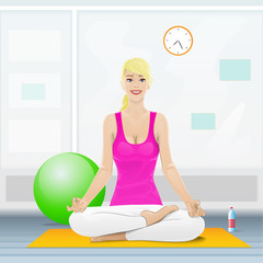 woman sitting in yoga lotus position doing exercises