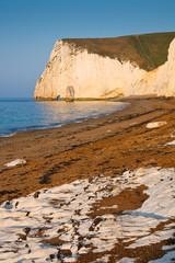 Morning light on the cliffs of Jurassic coast in Dorset, UK.