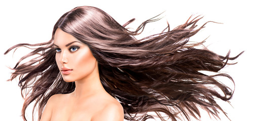 Fashion Model Woman Portrait with Long Blowing Hair