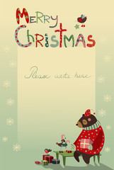 Christmas greeting card with bear and birds