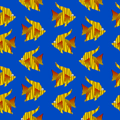Tropic fish seamless pattern