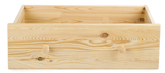 Wooden drawer isolated on white background.
