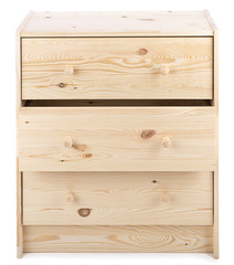 Cabinet with wooden drawers isolated on white background.