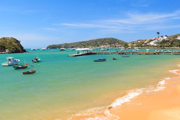 Pier, boats, sea in Armacao dos Buzios  Rio de Janeiro, Brazil