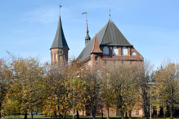 Kaliningrad. Konigsberg cathedral in the fall