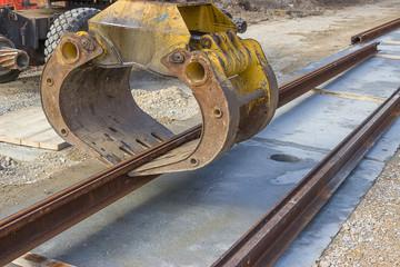 Tram rail track installation machine