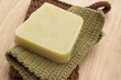 Green Handmade Soap with Handmade Cotton Washcloths