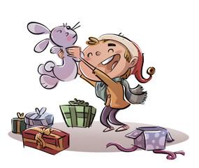 niño con regalo de Navidad