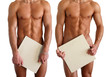 Three nude muscular men covering with copy space blank signs