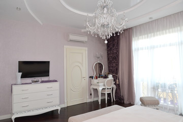 Bedroom interior with white furniture. Modern classics with roco