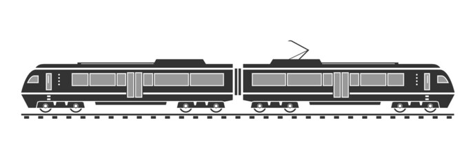 Silhouette of electric train