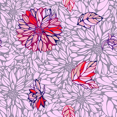 seamless pattern with  dahlia and leaves