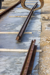 Alignment of tram rail track ends before welding 2